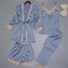 Women Silk Satin Sleepwear Set New Robe+Slip Top+Pant+Shorts 4 Pieces Lace Nightwear Summer Pajama Set ELegant Home Clothing see through slip pajama top transparent sleepwear