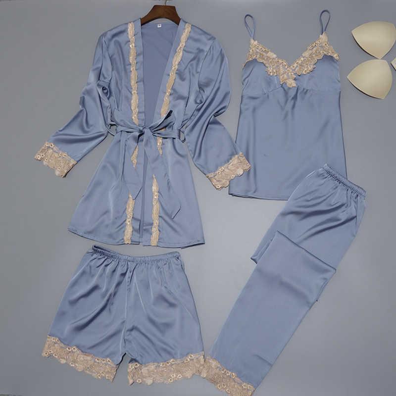 4f1a3730a949 Detail Feedback Questions about Women Silk Satin Sleepwear Set New ...
