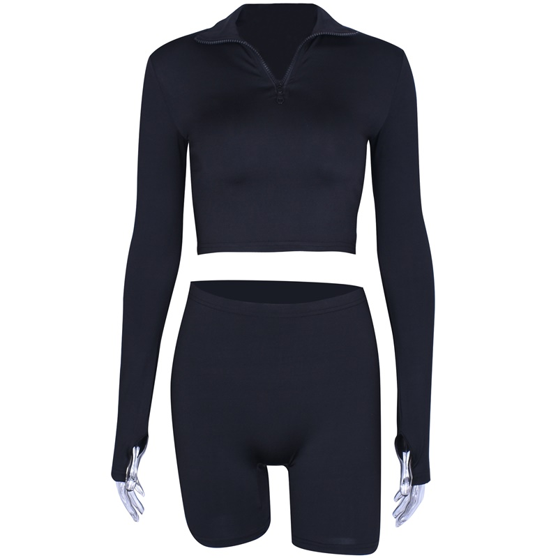 Hugcitar long sleeve zipper high neck elastic sexy crop tops shorts 2-pieces 2018 summer autumn women fashion casual sports sets 24