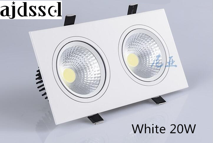 1pcs double white square Dimmable Led downlight light COB Ceiling Spot Light 2x10W 20w ceiling recessed Lights Indoor Lighting
