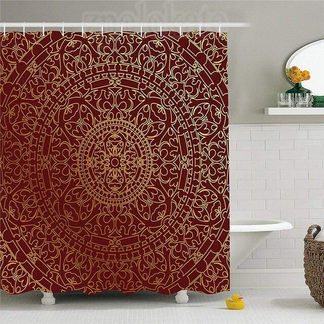 Maroon Shower Curtain Antique Arabic Artwork Oriental Mandala