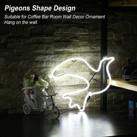 Pigeons Shape Neon Sign Night Light Home Room Wall Decor Love Ornament Coffee Bar Mural Craft