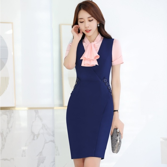 399cdfdb532 Plus Size 3XL Summer Short Sleeve Formal Professional Business Women Work  Suits With Blouses And Dress Office Outfits Set