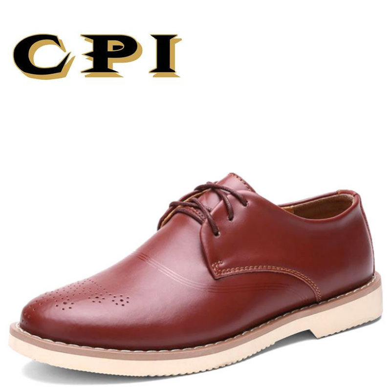 CPI 2018 New autumn British Style Men's casual leather shoes All-match Comfortable Breathable Business casual shoes AA-58 men casual shoes breathable all match male british leather breathable sneaker fashion shoes