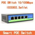 4 Puertos Ieee 802.3af POE Switch Inteligente 10 100 Mbps Switch PoE Power Over Ethernet Endspan Para Cámaras IP
