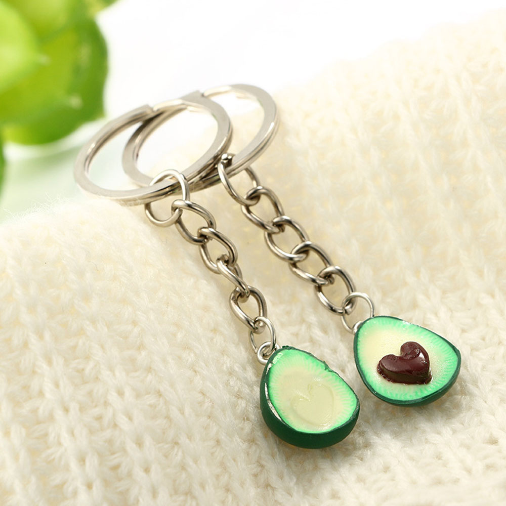 2pcs//set Fruit Keyring Couple Bag Dangle Chain Avocado Fashion Jewelry Key Chain