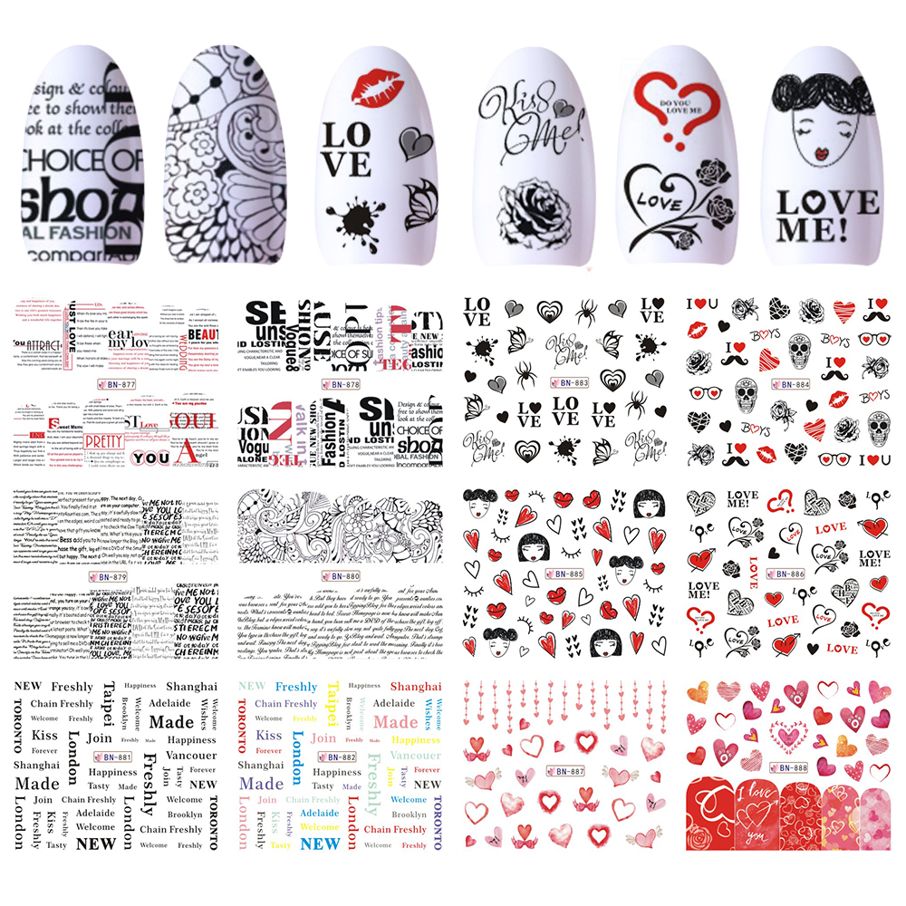 12 Designs Nail Art Sticker Slider Water Decals Adhesive Girls Heart Rose Text Lips for Polish Wraps Manicure Decor JIBN877-888