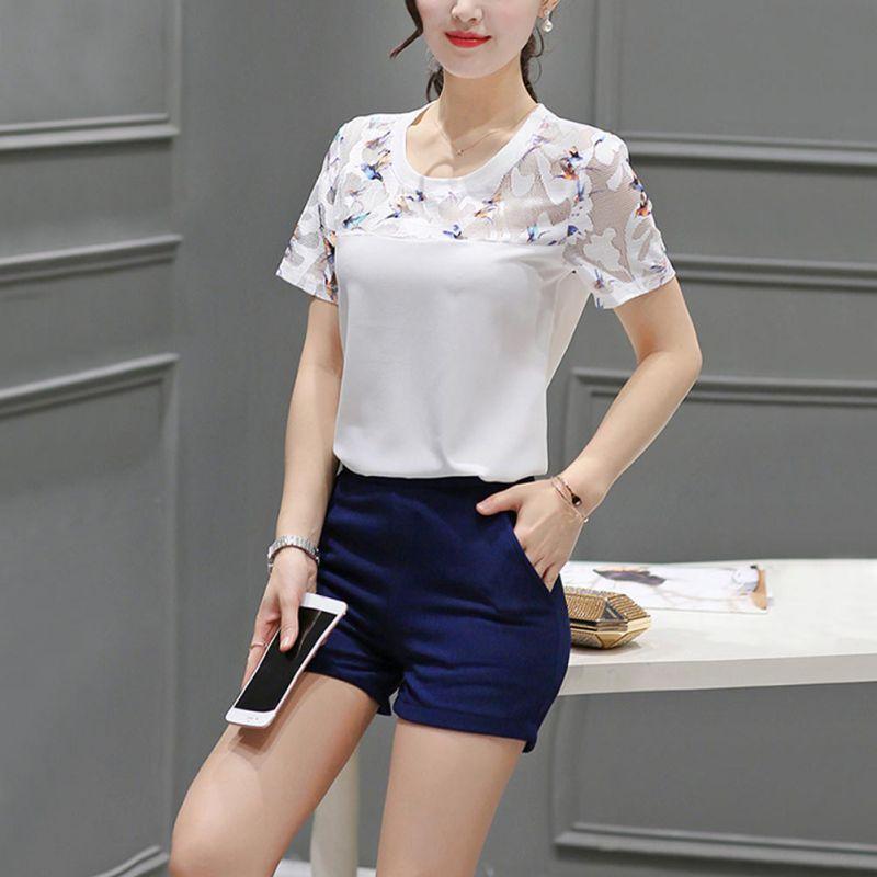 Floral Lace Blouse Women Short Sleeve Plain Blouse 2018 Summer Elegant Blouse