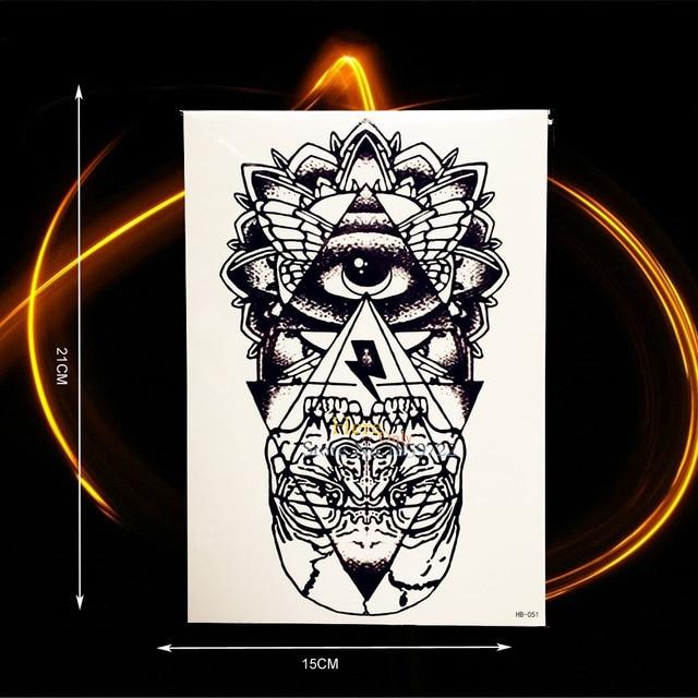 078 El Ojo De Horus Dios Tatuaje Temporal Falso Color Negro Tinta Hombres Brazo Grande Tatuaje Totem Hhb 051 Falso Tatoo De Las Mujeres En