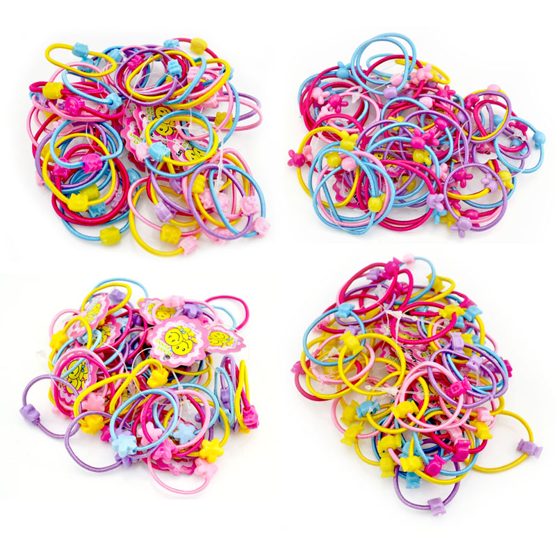 50 Pcs / Lot Little Girl Hair Accessories Cartoon Candy Rabbit Cat Star Elastic Hair Rubber Band Kid Holder Headband Ties Gum halloween party zombie skull skeleton hand bone claw hairpin punk hair clip for women girl hair accessories headwear 1 pcs