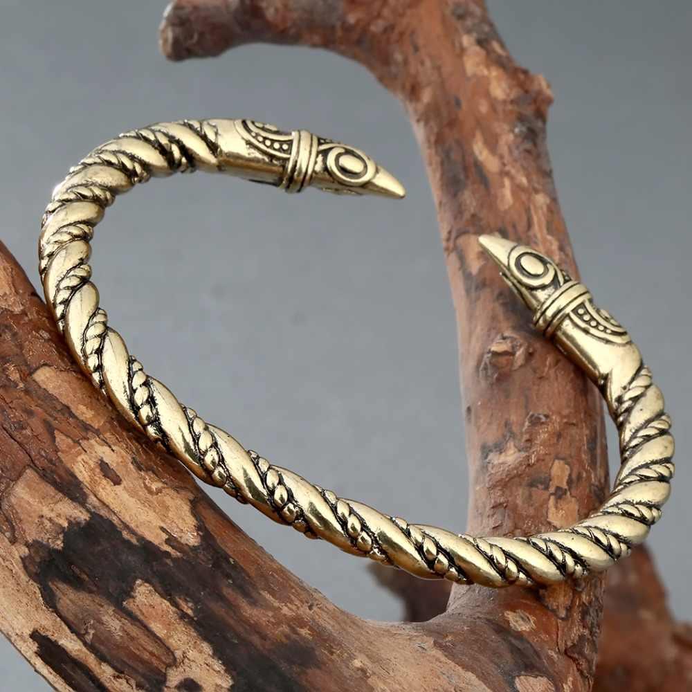 Kinitial Retro Viking Symbol Pagan otwarta bransoletka męska duża bransoletka Norse Viking bransoletki Handmade Twist bransoletka biżuteria