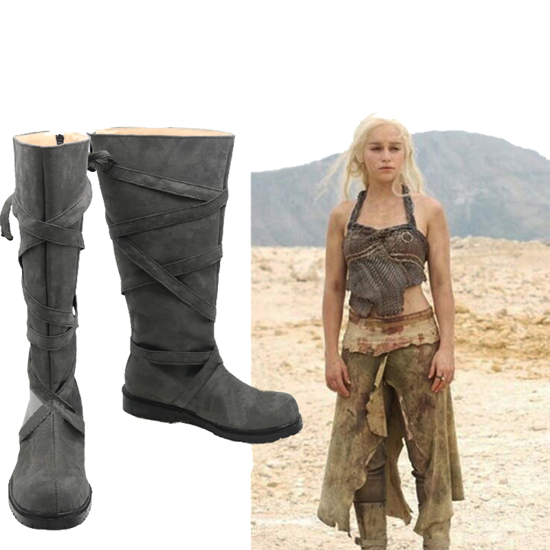 Game of Thrones Season 7 Mother of Dragons Shoes Daenerys Long Boots Party Props
