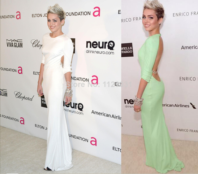 Miley Cyrus Oscar Green White Prom Dress Long Crew Neck 3/4 Sleeve ...