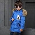 Niños Niños Chaquetas de Invierno Outerwears Mapache Abrigo de Cuello de Piel Gruesa Caliente Muchacho de La Manera Ropa de Alta Calidad Para 4-10 T