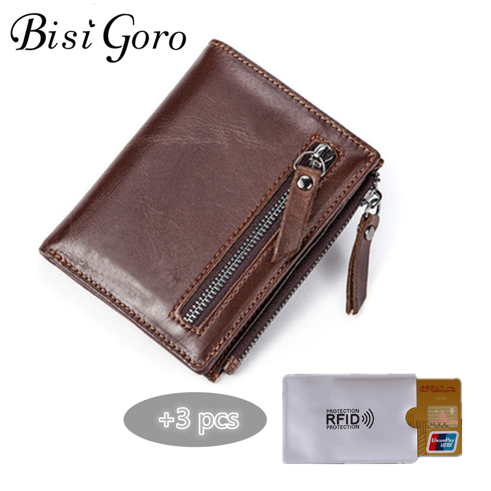 Bisi Goro 2018 Men Short Genuine Leather Wallet Male Purse Zipper Coin Purse Vintage Wallet Credit Card Holder With Card Cover joyir vintage men genuine leather wallet short small wallet male slim purse mini wallet coin purse money credit card holder 523