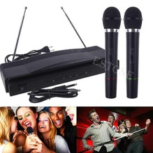цена на 2019 New arrival Professional Wireless Microphone System Dual Handheld 2 x Mic Cordless Receiver Hot Sale