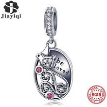 Jiayiqi 925 Sterling Silver Charms Love Letter Pigeon CZ Pendant Fit Necklace Bracelet Women DIY Fine Jewelry Valentine Day Gift(China)