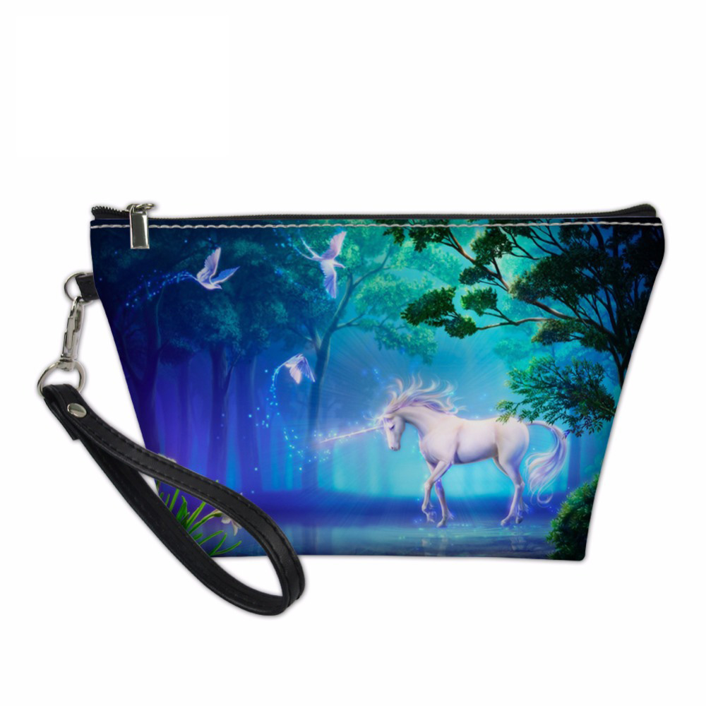 Noisydesigns 3D Unicorn Printing esigner cosmetic bag for Women Beauty Makeup Travel Organizers Bags Make Up Pouch Toiletry Bag