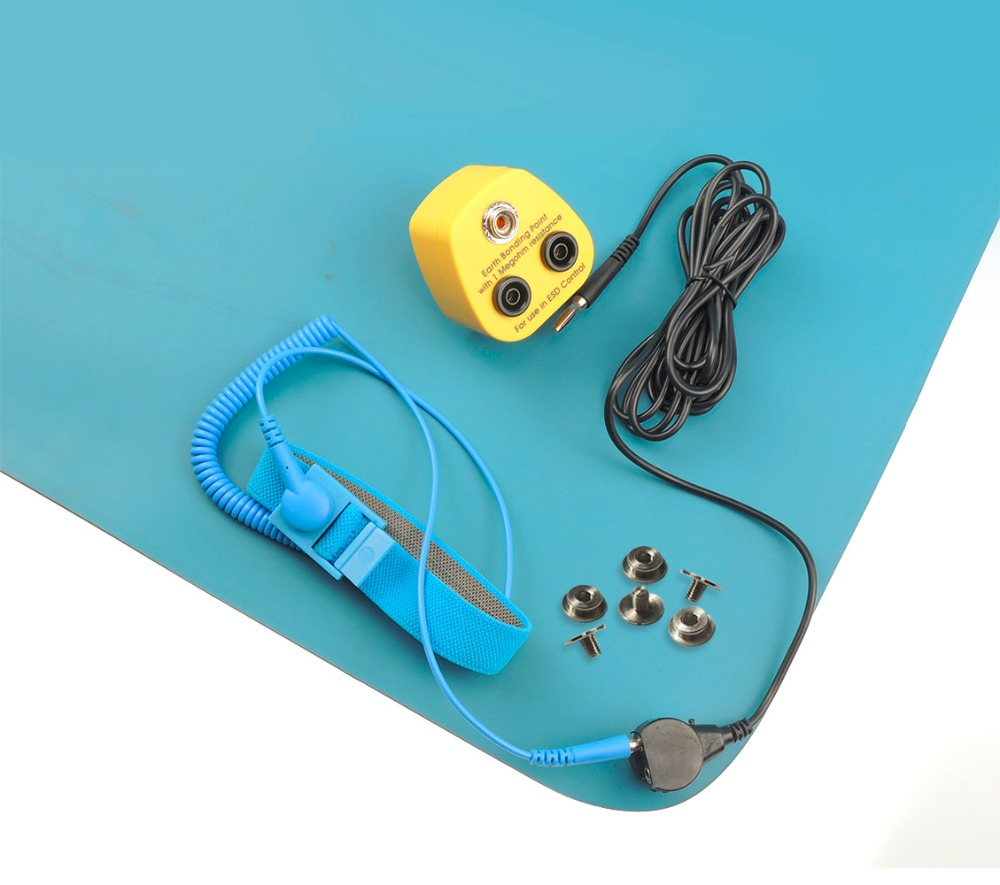 Blue Antistatic ESD Mat Dull 2 Layer Blue Color 1PC UK Earth Bonding Plug ESD Wrist Strap Grounding Cord