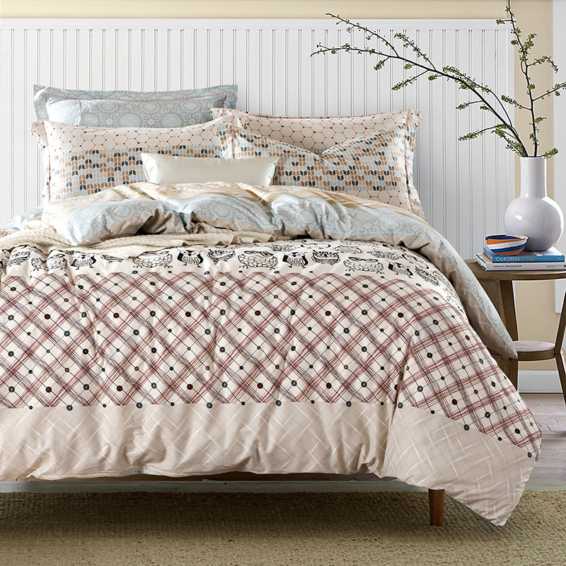 Adult Owl Bedding Sets Queen King Size Cotton Printed Fabric Plaid Geometric Duvet Cover Bed Sheets