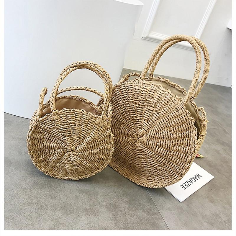 2018 Women Hand Bali Island Woven Bag buckle Rattan Straw Bag Women Shoulder Bag Female Satchel Wind Bohemia Beach Circle Zipper