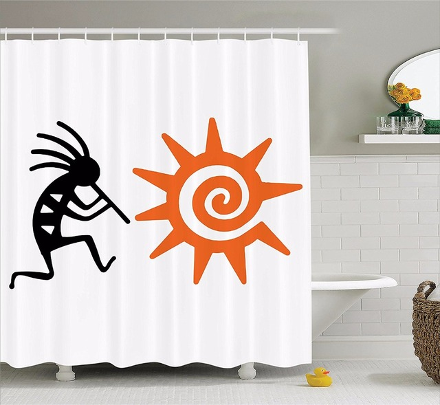High Quality Arts Shower Curtains Ethnic Series Orange Sun People Retro Pattern Bathroom Decorative Modern