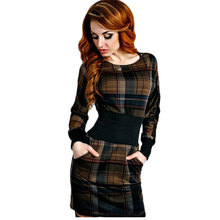 Plaid Winter Dress Vestidos 2016 Women Long Sleeve Tartan Patchwork Tunic Party Pencil Dress Office Dress Plus size Dresses