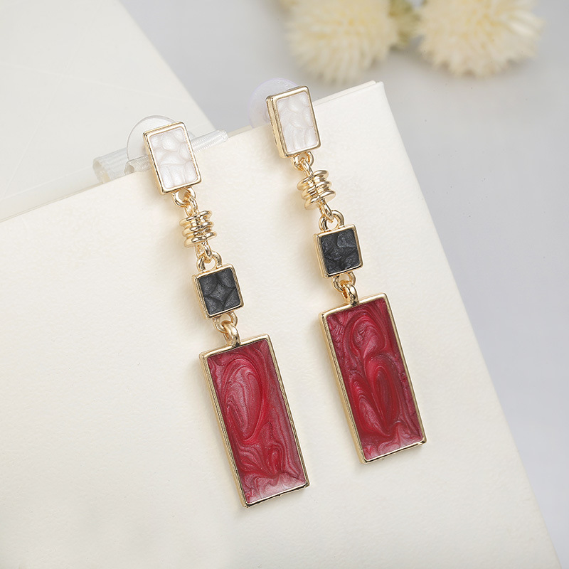 Trendy long geometric dangle earrings for women girls red white black rectangular drop earrings female wedding party jewelry in Drop Earrings from Jewelry Accessories