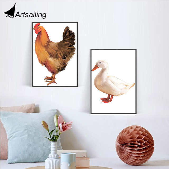 Nordic wall art chicken duck canvas Painting wall pictures For ...