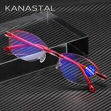 Очки для чтения для женщин без оправы очки при дальнозоркости, для леди с защитой от синего света очки для чтения+ 1,0+ 1,5+ 2,0+ 2,5+ 3,0+ 3,5+ 4,0 Сверхлегкий