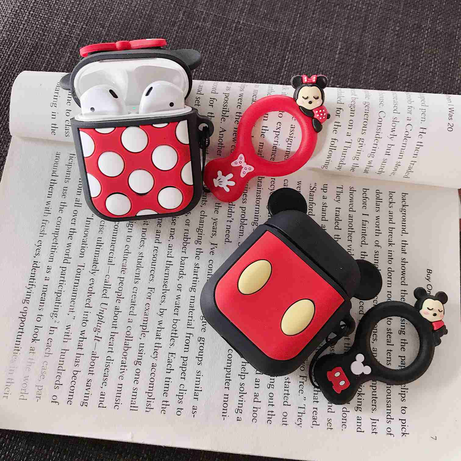 Cute For AirPods Case Cartoon silicon with Finger Ring Strap cover For Air pods Bluetooth Earphone Cases For airpods Accessories