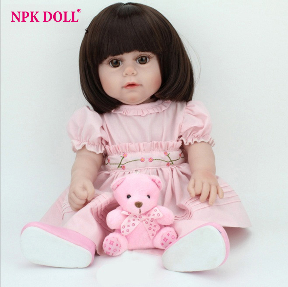 45cm Handmade 18 Happy Vinyl Reborn Baby Doll full body Soft Silicone baby Girl with black brown eyes Bath toys Toy girl gift [mmmaww] christmas costume clothes for 18 45cm american girl doll santa sets with hat for alexander doll baby girl gift toy