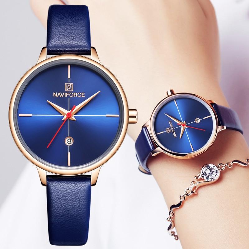 NEW NAVIFORCE Blue Women Watches Top Brand Luxury Waterproof Women's Watches Quartz Woman Watch Watch Women Leather Wristwatch