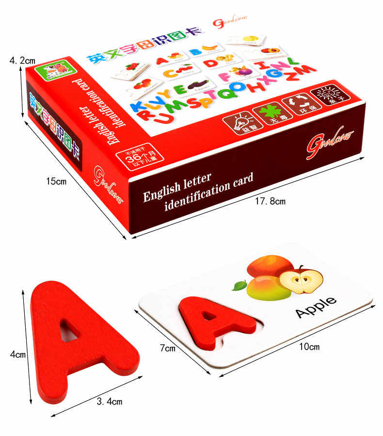 Деревянные паззлы игрушка фрукты и овощи Английский алфавит идентификации карточки с алфавитом когнитивные игрушки раннего детства образование