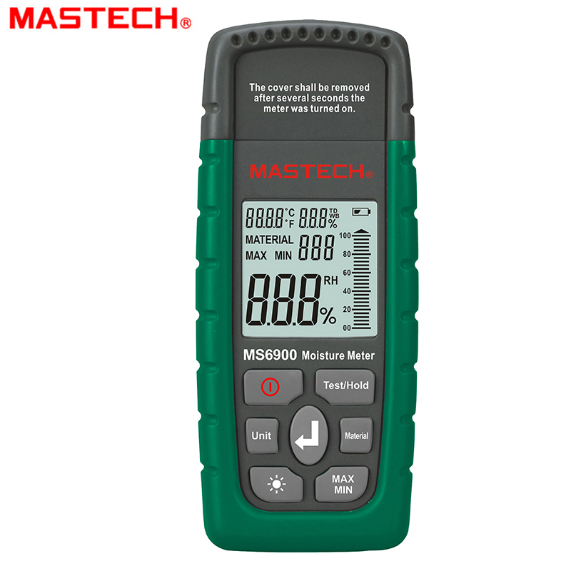 Mastech MS6900 Digital Moisture Meter Wood Lumber Concrete Buildings Temperature Humidity Tester with LCD Display BackLight