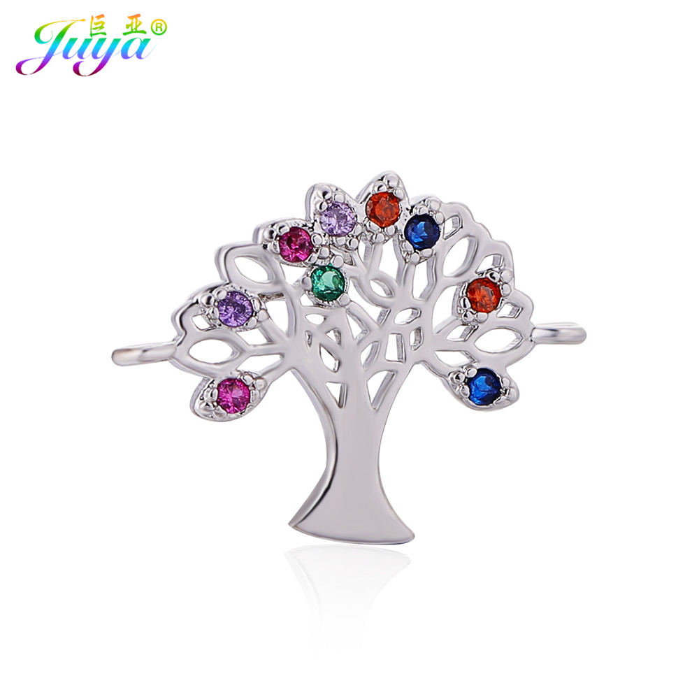 Handmade Chakra Jewelry Findings Colorful Stones Tree Of Life Charm Connectors Accessories Fit Women Costume Jewelry DIY Making