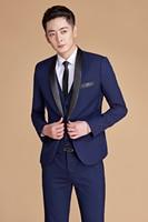 2019 Custom Mens Plus Suit Navy Blue Shawl Lapel Two piece Stage Singer Wear Latest Coat Pant Designs Prom Wedding Suits For Men