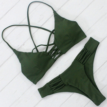 Nueva Llegada de la Venta Caliente Bikini Mujeres Sexy traje de Baño Color Sólido Traje de Baño con Almohadillas De Promoción Precio Barato Biquini Beachwear