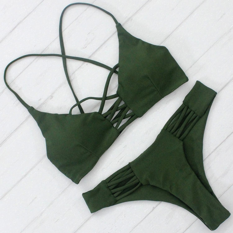 Nueva llegada de la venta caliente Bikini Sexy mujer traje de baño Color sólido traje de baño con almohadillas promoción precio Beachwear barato Biquini
