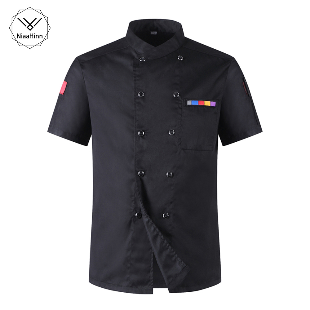 Wholesale Short-sleeve Chef Uniforms Restaurant Hotel Chef Jacket Kitchen Cook Shirt Unisex Kitchen Work Clothes Waiter Overalls