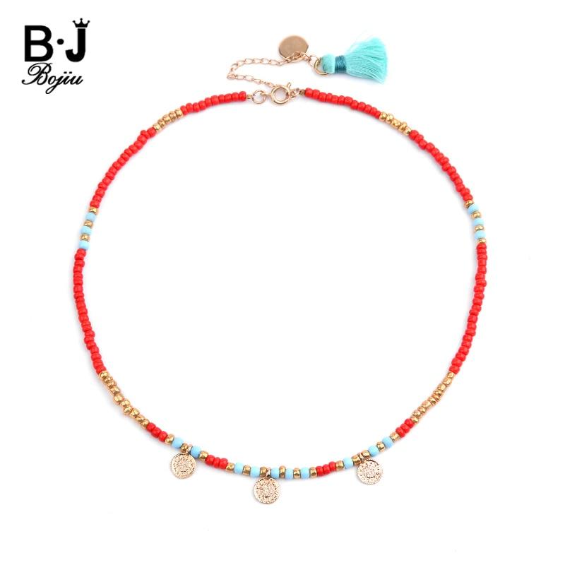 BOJIU Bohemian Short Collar Chokers Necklaces For Women Personalized Bijou Ethnic Acrylic Beads Miyuki Statement Necklace NKS227