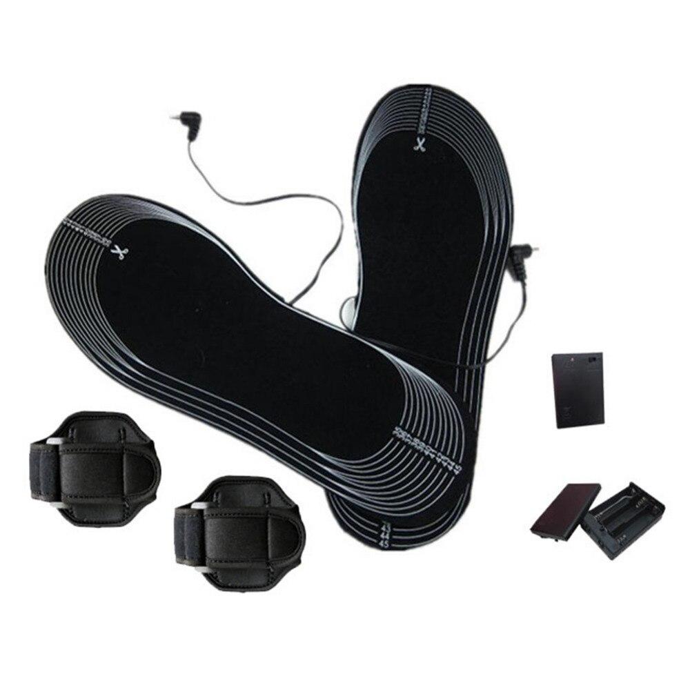 1 Çift Kesilebilir Karbon Fiber Boot Isıtmalı Tabanlık Pil Powered Ayak Sıcak Kış Ayakkabı Pedleri Minderler Ayakkabı Aksesuarları Siyah