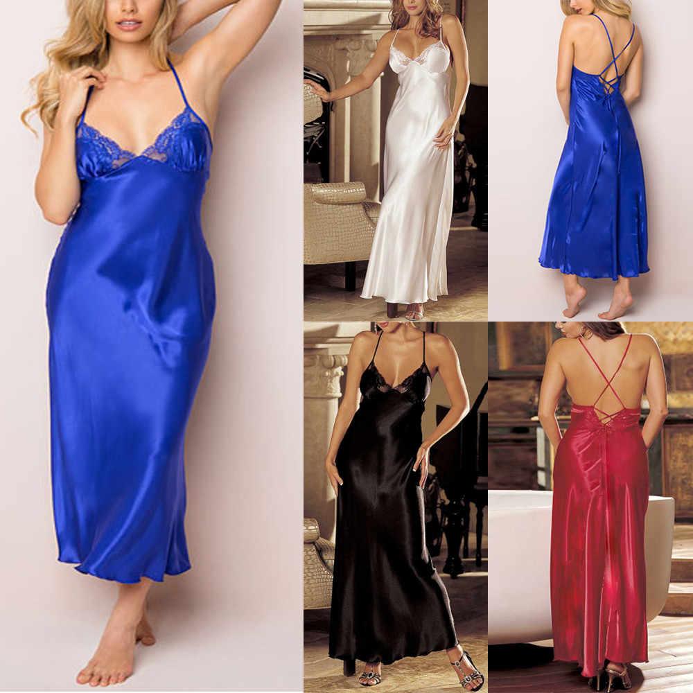db8625408 Women Sexy Plus Size Slip Lingerie Sleepwear Underwear Babydoll Nightgown  V-Neck Backless Women New