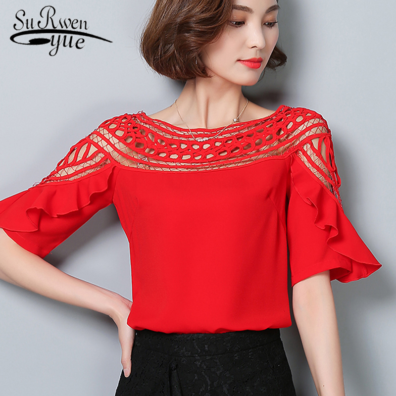 New fashion 2019 chiffon women blouse shirt summer sexy hollow out lace women's clothing O-neck red ladies tops blusas 960G 30