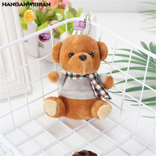 1PCS Mini Bear Plush Toys Small Pendant Creative Cute Scarf Bears Stuffed Toy For Kids Birthday Gifts Hot Sale 11CM HANDANWEIRAN