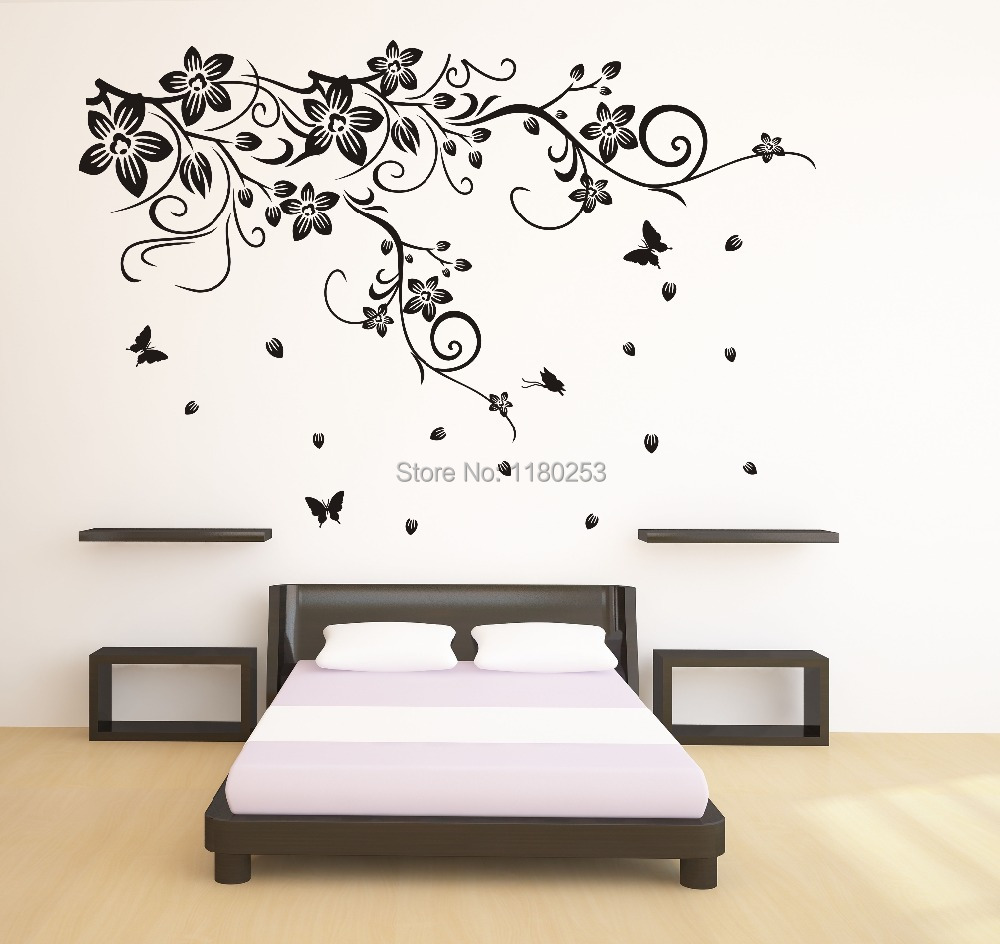 Black and white wall stickers home design dreamhome new home decor wall stickers large beautiful blackwhite flower vine amipublicfo Choice Image