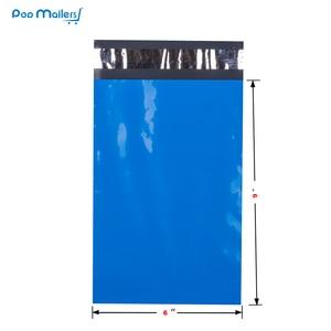 Image 3 - 100pcs 15x23cm 6x9 אינץ כחול צבע פולי הדיוורים עצמי חותם פלסטיק תיקי מעטפת