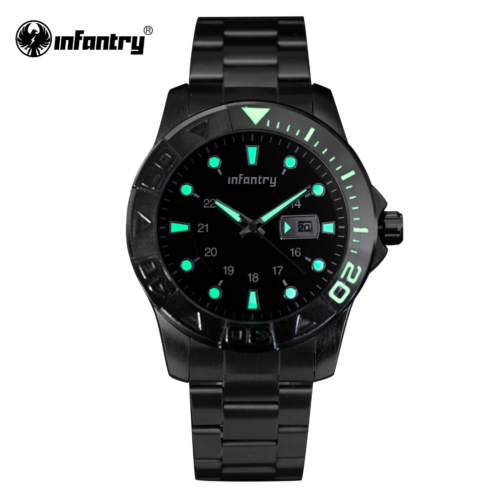 INFANTRY Mens Watches Full Steel Quartz Watches Luminous ...