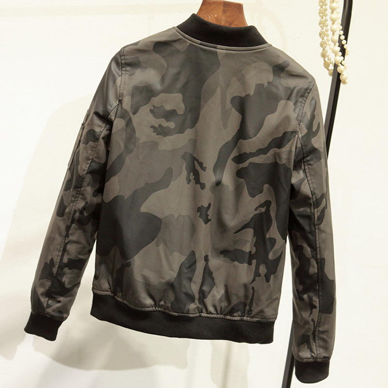 59d507b7d3225 Camouflage Jackets 2018 New Spring Autumn Fashion Army Green Motorcycle  Coat PU Leather Baseball Clothing Stand Collar Outwear