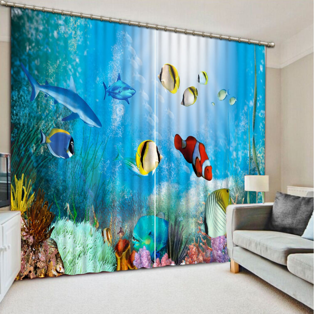 Beautiful Photo Modern 3D Curtain Colored Fish Coral Bed Room Living Room Office Hotel Cortinas 3D Curtain Blackout in Curtains from Home Garden